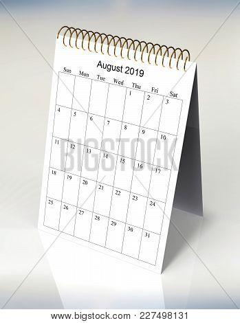 The Original Calendar For August, 2019.  The Beginning Of Week - Sunday