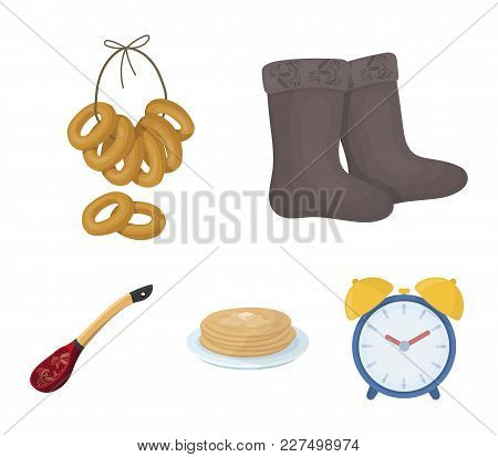 Felt, Boots, Drying, Gingerbread .russia Country Set Collection Icons In Cartoon Style Vector Symbol
