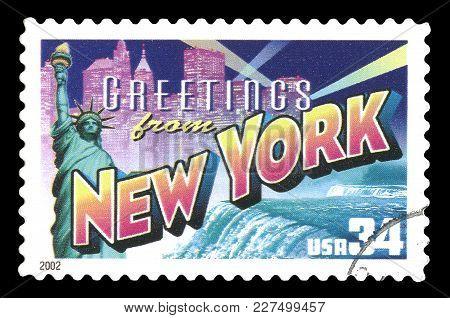 London, Uk, July 30 2014 - Vintage 2002 United States Of America Cancelled Postage Stamp  Showing Gr