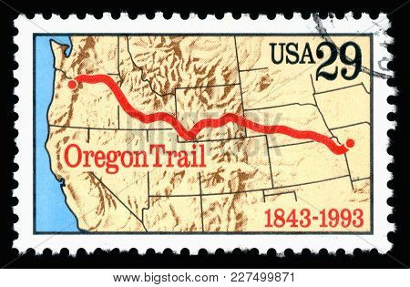 London, Uk, February 19 2018 - Vintage 1993 United States Of America 29c Cancelled Postage Stamp Sho