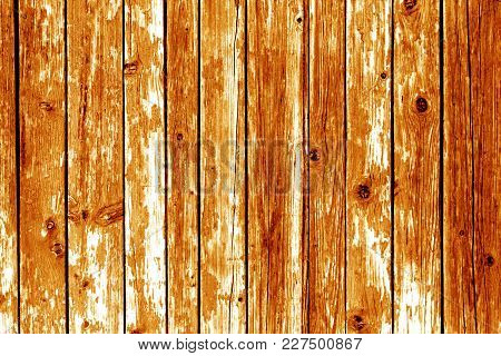 Grungy Wooden Wall Background In Orange Color. Abstract Background And Texture For Design.
