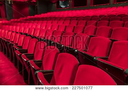 Red Seats In A Empty Theater And Opera.