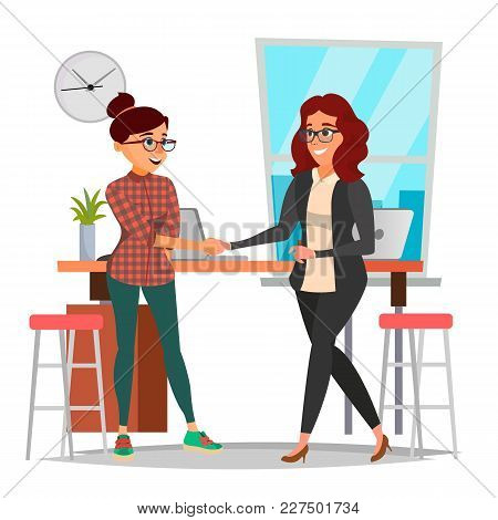 Business Partnership Concept Vector. Two Business Woman. Signing Contract Agreement. Office Meeting.