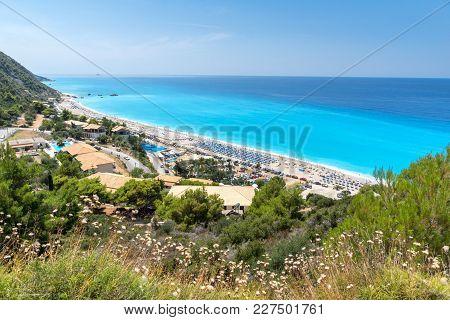 Panoramic View Of Kathisma Beach , Lefkada, Ionian Islands, Greece