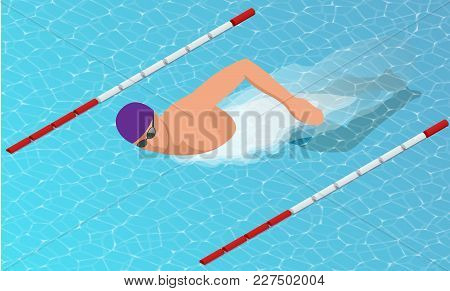 Isometric Male Swimmers Doing Free Style In Different Swimming Lanes. Vector Illustration.