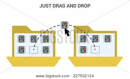 Drag And Drop Trendy Flat Vector Illustration.
