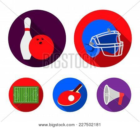 Keglie And Bowling Ball, Protective Helmet For Rugby, Racket And Ball For Playing Ping-pong, Field,