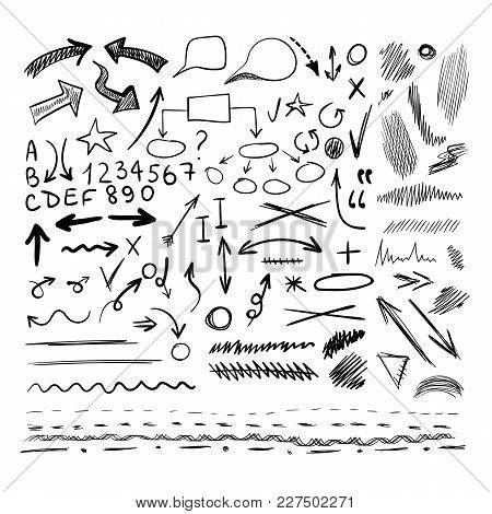 Vector Collection Of Hand Drawn Sketched Design Elements, Black And White, Different Shapes Isolated