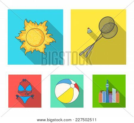 A Game Of Badminton, A Ball And The Sun.summer Vacation Set Collection Icons In Flat Style Vector Sy