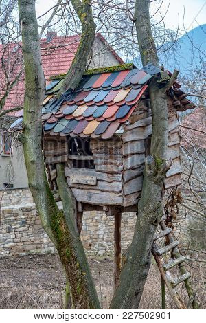 A Treehouse With Roof Tiles Built Around Trees