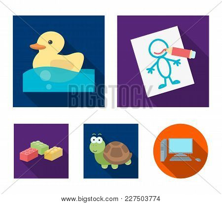 Children's Toy Flat Icons In Set Collection For Design. Game And Bauble Vector Symbol Stock Web Illu