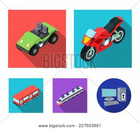 Motorcycle, Golf Cart, Train, Bus. Transport Set Collection Icons In Flat Style Vector Symbol Stock