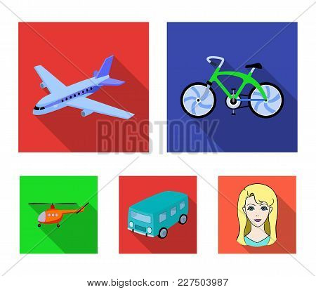 Bicycle, Airplane, Bus, Helicopter Types Of Transport. Transport Set Collection Icons In Flat Style