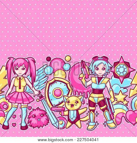 Japanese Anime Cosplay Seamless Pattern. Cute Kawaii Characters And Items.