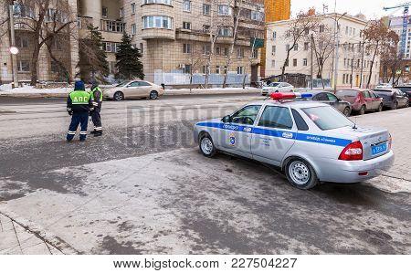 Samara, Russia - February 18, 2018: Russian Police Patrol Car Of The State Automobile Inspectorate O