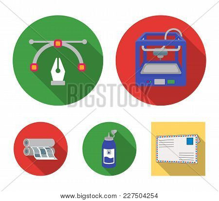 3d Printer, Newspaper Printer, Ink, Pen. Typography Set Collection Icons In Flat Style Vector Symbol