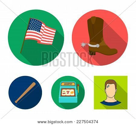 Cowboy Boots, National Flag, Slot Machine, Baseball Bat. Usa Country Set Collection Icons In Flat St