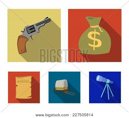 Bag With Money, Colt, Van, Is Being Searched For. Wild West Set Collection Icons In Flat Style Vecto
