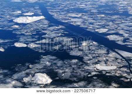 Broken Ice On The Surface Of The River In Winter
