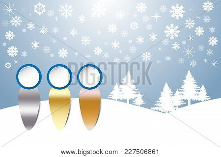 Sports Rank As A Human Figures  In Winter Snow Landscape With Trees And Snowflakes