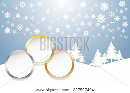 Sports Rank As A White Circles With Golden, Silver And Bronzed Edges Winter Snow Landscape With Tree