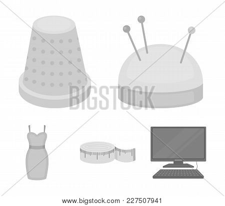 Pincushion With Pins, Thimble, Centimeter, Dress.atelier Set Collection Icons In Monochrome Style Ve