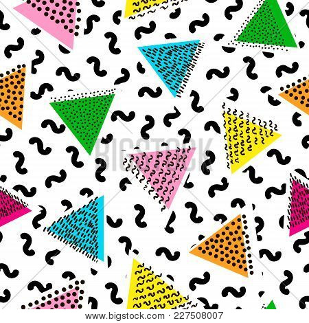 Colorful Seamless Pattern From Triangles. Bright Background. 80's - 90's Years Design Style. Trendy.