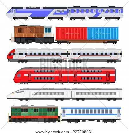 Passenger Train Set. Train People Use For Traveling, Series Of Connected Colorful Railway Carriages.