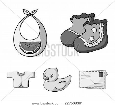 Socks, Bib, Toy Duck, Raspashonka.baby Born Set Collection Icons In Monochrome Style Vector Symbol S