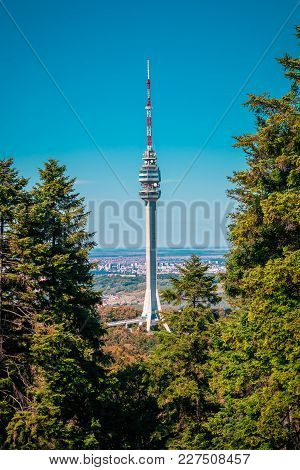 Avala Tower, Belgrade, Serbia. Telecommunications Tower Located On Mount Avala In Belgrade. Famous L