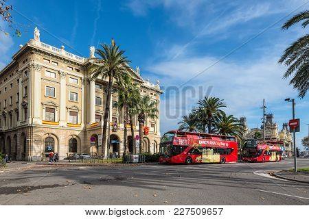 Barcelona, Spain - December 5, 2016: City Tour Sightseeing Buses In Front Of The Military Government