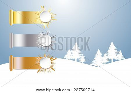 Golden, Silver And Bronzed Sports Rank And Winter Snow Landscape In The Background.