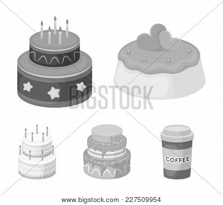 Sweetness, Dessert, Cream, Treacle .cakes Country Set Collection Icons In Monochrome Style Vector Sy