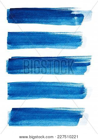 Blue Abstract Painted Ink Strokes Set On Watercolor Paper. Ink Strokes. Flat Kind Brush Stroke. Wate