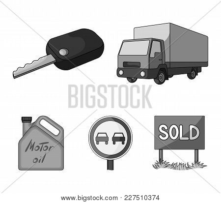 Truck With Awning, Ignition Key, Prohibitory Sign, Engine Oil In Canister, Vehicle Set Collection Ic