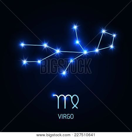 Virgo Constellation And Zodiac Sing. Vector Illustration.