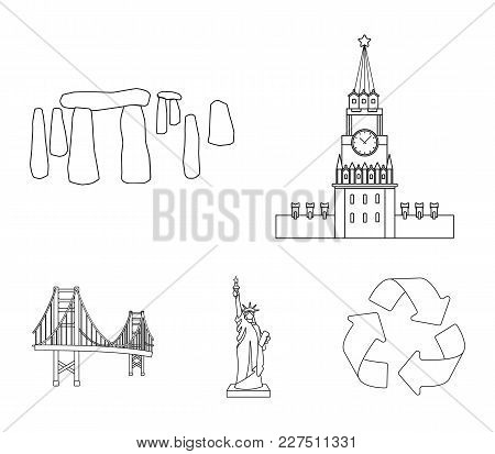 Building, Interesting, Place, Coliseum .countries Country Set Collection Icons In Outline Style Vect