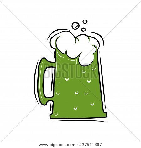 Beer Glass Sign. Dark Green Ale. St Patrick Day. Vector Illustration Isolated On White Background