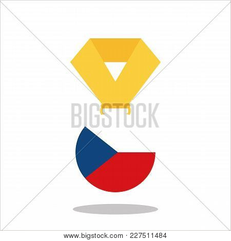 Medal With The Czech Republic Flag Isolated On White Background - Vector Illustration.