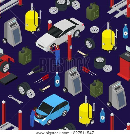 Car Auto Service Seamless Pattern Background On A Blue Isometric View Diagnostic Equipment Maintenan