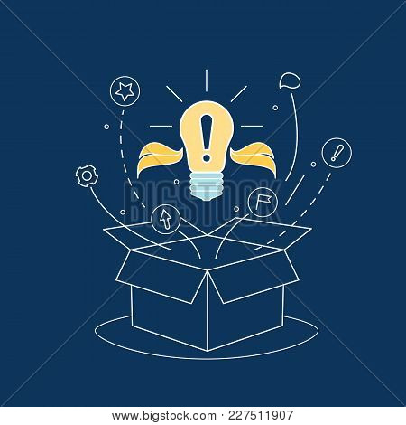 Box Idea With Electric Light Bulb Thin Line Think Outside Concept Web Design Element On A Blue. Vect