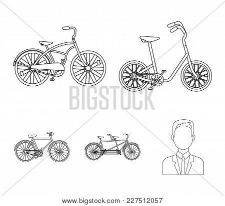 Children's Bicycle, A Double Tandem And Other Types.different Bicycles Set Collection Icons In Outli