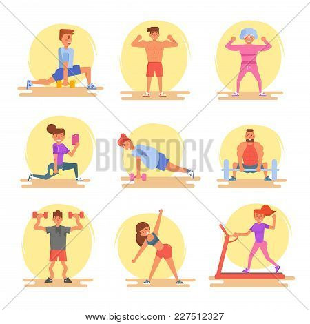 Types Of People In The Gym. Beginner, Muscled, Old Lady, Woman, Selfie, Press Legs Treadmill