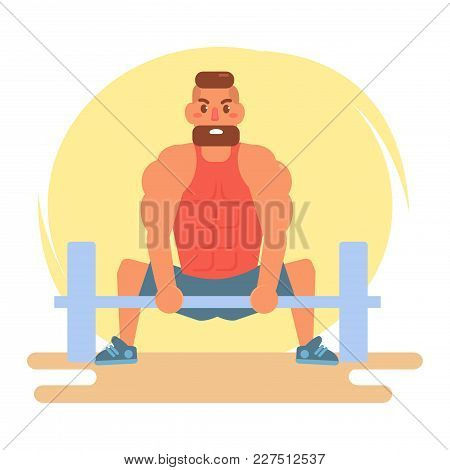 Athlete With A Barbell. Vector. Cartoon. Isolated Art On White Background. Flat