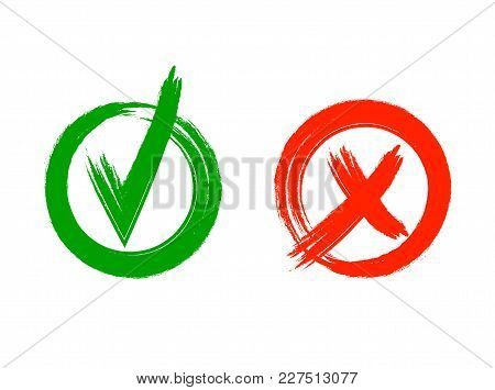Check And Cross Vector Grunge Style Marks Isolated On White Background: Yes And No, Graphic Icons, C