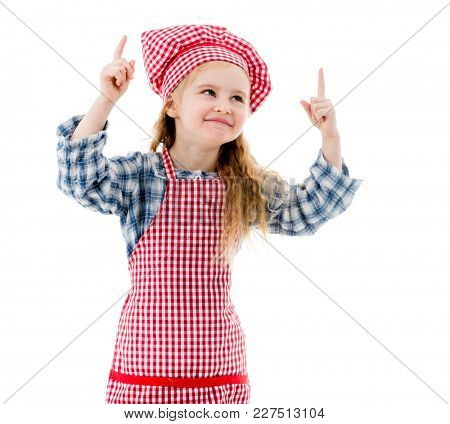 Little chef girl emotions isolted on white background