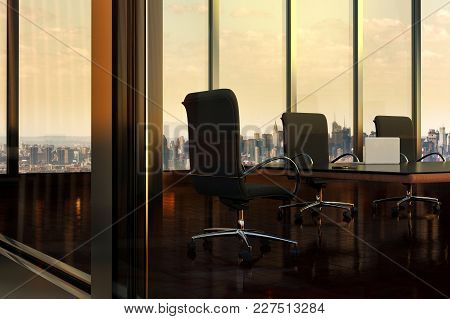 3d Rendering Of An Empty Boardroom In Office Building, With View Of New York City Through Windows, N