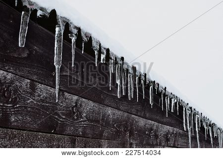 Icicles On Roof On Dark Brown Wooden Wall Background In Cold Winter Day. Climate Changes Signs.