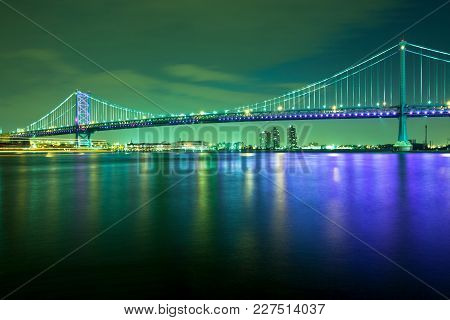 Benjamin Franklin Bridge Over The Delaware River, Philadelphia, Pennsylvania, Usa