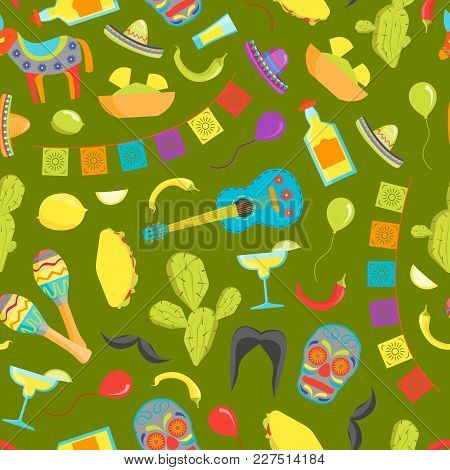 Cartoon Symbol Of Mexico Seamless Pattern Background On Green Welcome Travel Concept American Cultur